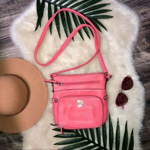 Gianni Bini pink/coral leather crossbody
